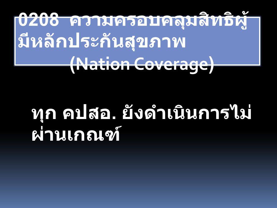 0208 ความครอบคลุมสิทธิผู้ มีหลักประกันสุขภาพ (Nation Coverage) ทุก คปสอ. ยังดำเนินการไม่ ผ่านเกณฑ์
