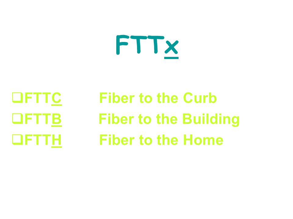 FFTTCFiber to the Curb FFTTB Fiber to the Building FFTTHFiber to the Home FTTx