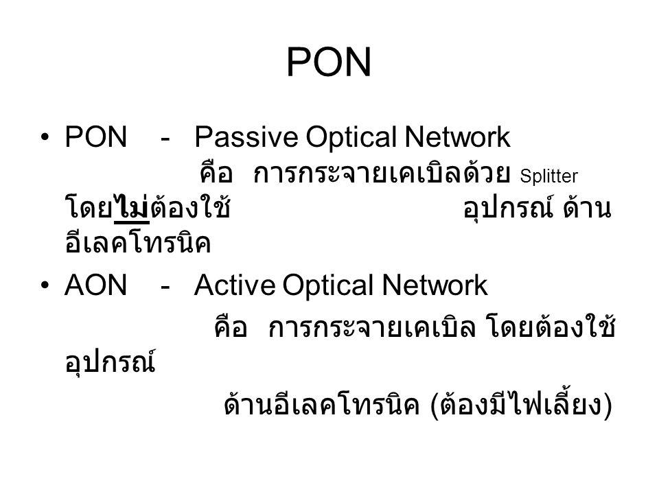 PON PON - Passive Optical Network คือ การกระจายเคเบิลด้วย Splitter โดยไม่ต้องใช้ อุปกรณ์ ด้าน อีเลคโทรนิค AON - Active Optical Network คือ การกระจายเคเบิล โดยต้องใช้ อุปกรณ์ ด้านอีเลคโทรนิค ( ต้องมีไฟเลี้ยง )