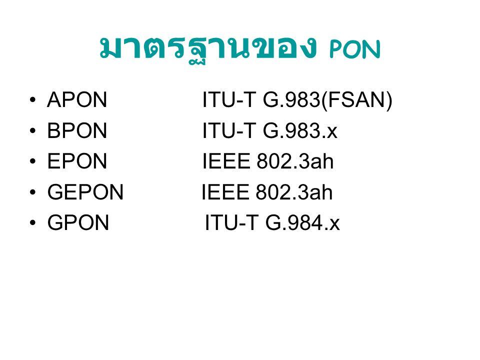 มาตรฐานของ PON APON ITU-T G.983(FSAN) BPON ITU-T G.983.x EPON IEEE 802.3ah GEPON IEEE 802.3ah GPON ITU-T G.984.x