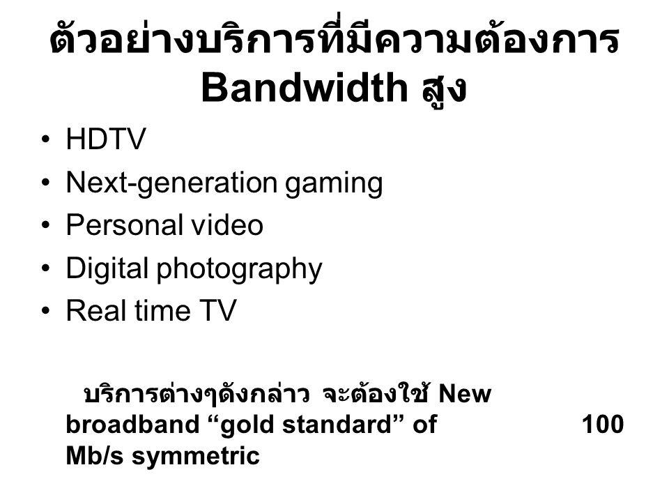 ตัวอย่างบริการที่มีความต้องการ Bandwidth สูง HDTV Next-generation gaming Personal video Digital photography Real time TV บริการต่างๆดังกล่าว จะต้องใช้ New broadband gold standard of 100 Mb/s symmetric