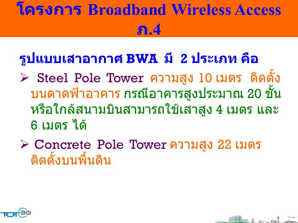 โครงการ Broadband Wireless Access ภ.4 รูปแบบเสาอากาศ BWA มี 2 ประเภท คือ  Steel Pole Tower ความสูง 10 เมตร ติดตั้ง บนดาดฟ้าอาคาร กรณีอาคารสูงประมาณ 2