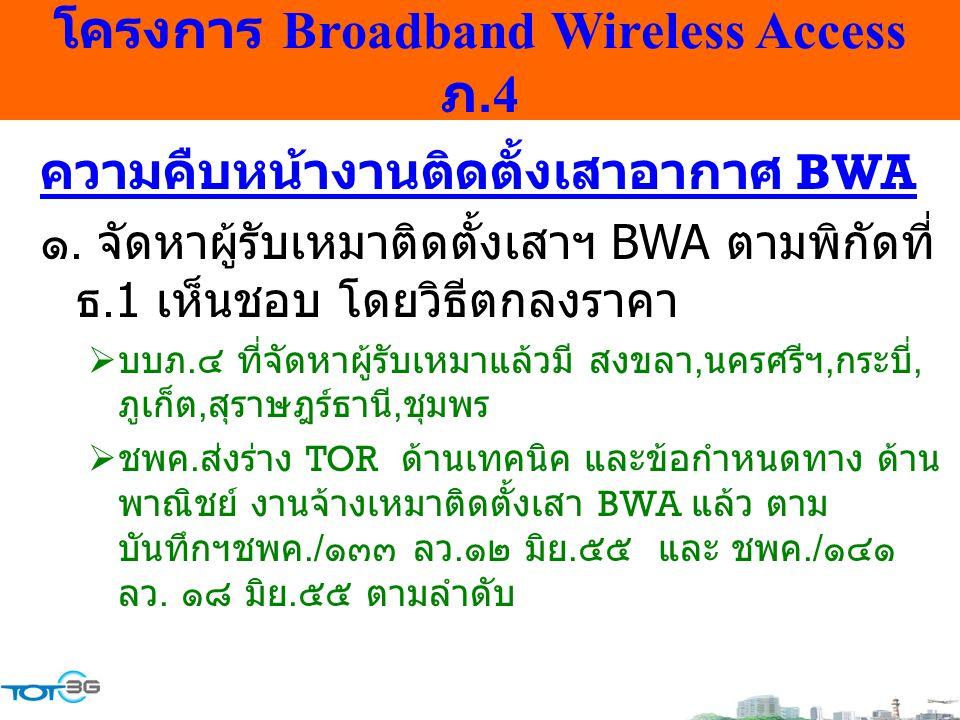 โครงการ Broadband Wireless Access ภ.4 ความคืบหน้างานติดตั้งเสาอากาศ BWA ๑. จัดหาผู้รับเหมาติดตั้งเสาฯ BWA ตามพิกัดที่ ธ.1 เห็นชอบ โดยวิธีตกลงราคา  บบ