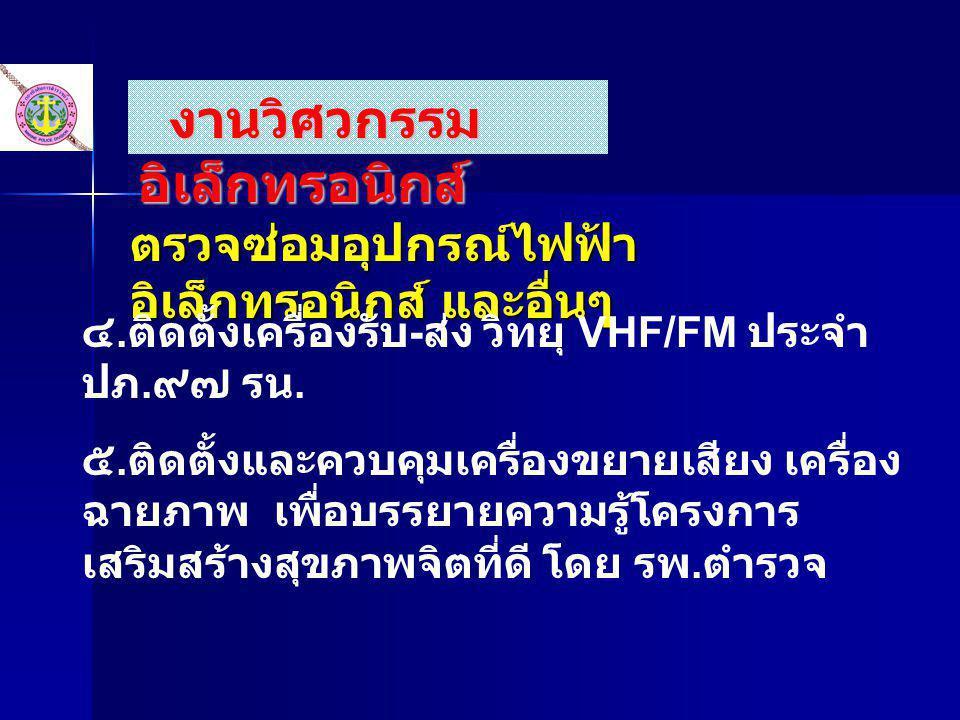 ตรวจซ่อมอุปกรณ์ไฟฟ้า อิเล็กทรอนิกส์ และอื่นๆ ๔. ติดตั้งเครื่องรับ - ส่ง วิทยุ VHF/FM ประจำ ปภ. ๙๗ รน. ๕. ติดตั้งและควบคุมเครื่องขยายเสียง เครื่อง ฉายภ