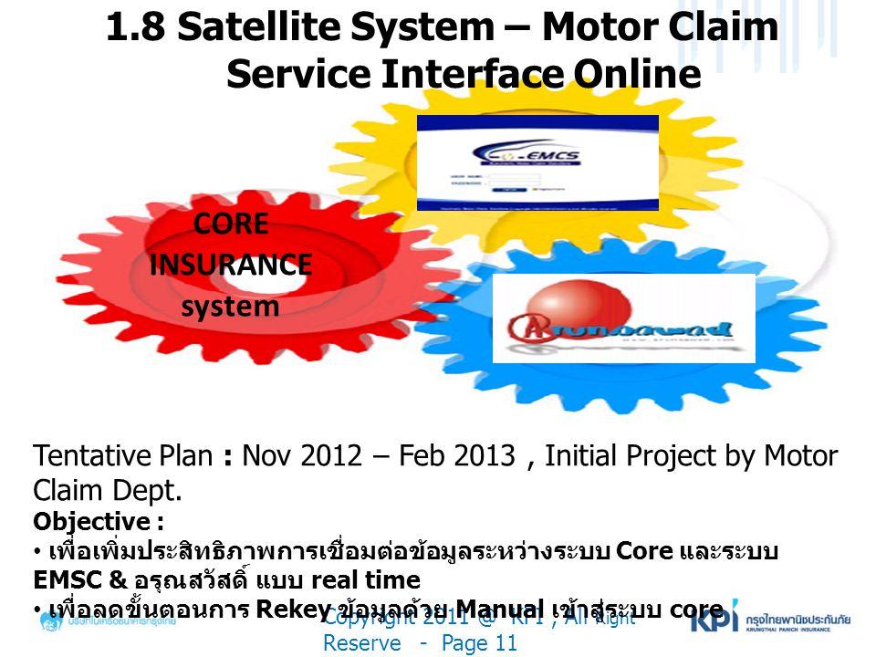 1.8 Satellite System – Motor Claim Service Interface Online Copyright 2011 @ KPI, All Right Reserve - Page 11 Tentative Plan : Nov 2012 – Feb 2013, In