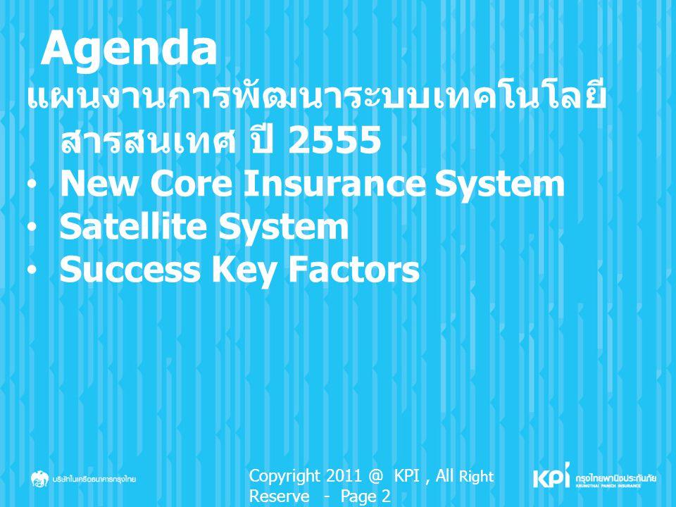 Agenda แผนงานการพัฒนาระบบเทคโนโลยี สารสนเทศ ปี 2555 New Core Insurance System Satellite System Success Key Factors Copyright 2011 @ KPI, All Right Res