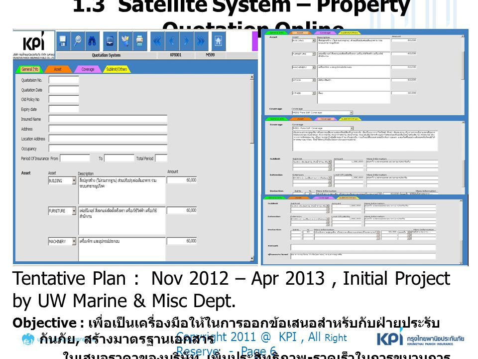 1.3 Satellite System – Property Quotation Online Copyright 2011 @ KPI, All Right Reserve - Page 6 Tentative Plan : Nov 2012 – Apr 2013, Initial Projec