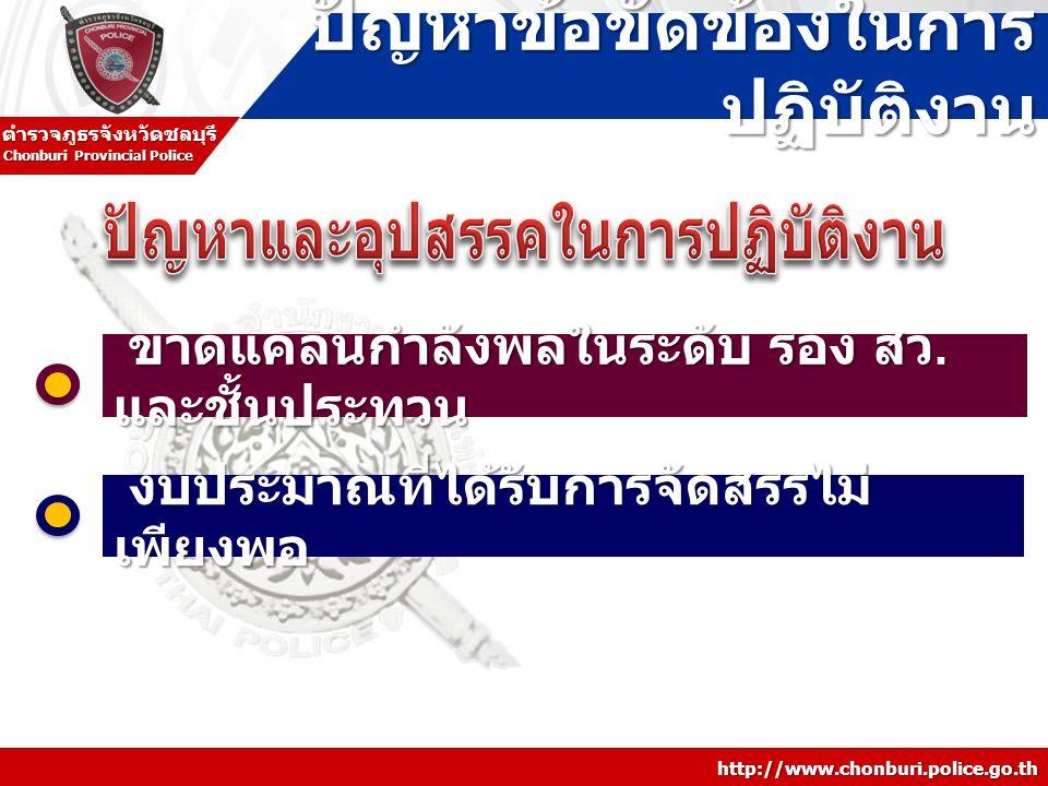 http://www.chonburi.police.go.th Chonburi Provincial Police ตำรวจภูธรจังหวัดชลบุรี ปัญหาข้อขัดข้องในการ ปฏิบัติงาน ขาดแคลนกำลังพลในระดับ รอง สว. และชั