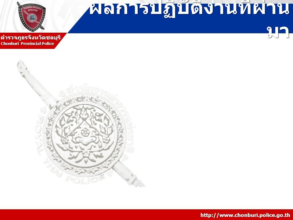 http://www.chonburi.police.go.th Chonburi Provincial Police ตำรวจภูธรจังหวัดชลบุรี ผลการปฏิบัติงานที่ผ่าน มา