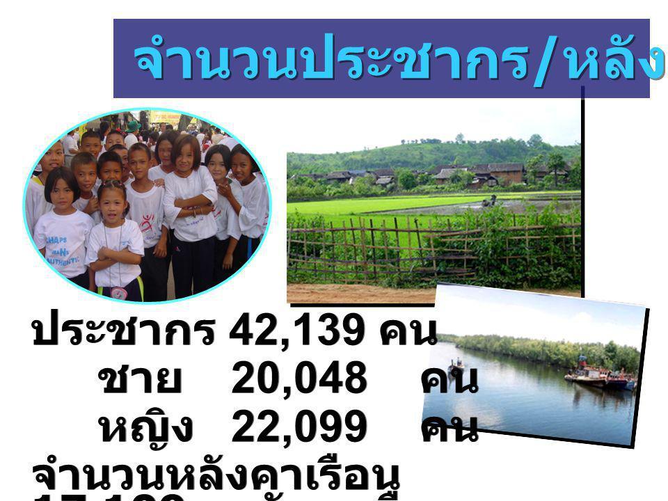ประชากร 42,139 คน ชาย 20,048 คน หญิง 22,099 คน จำนวนหลังคาเรือน 17,109 หลังคาเรือน ประชากร 42,139 คน ชาย 20,048 คน หญิง 22,099 คน จำนวนหลังคาเรือน 17,109 หลังคาเรือน จำนวนประชากร / หลังคาเรือน