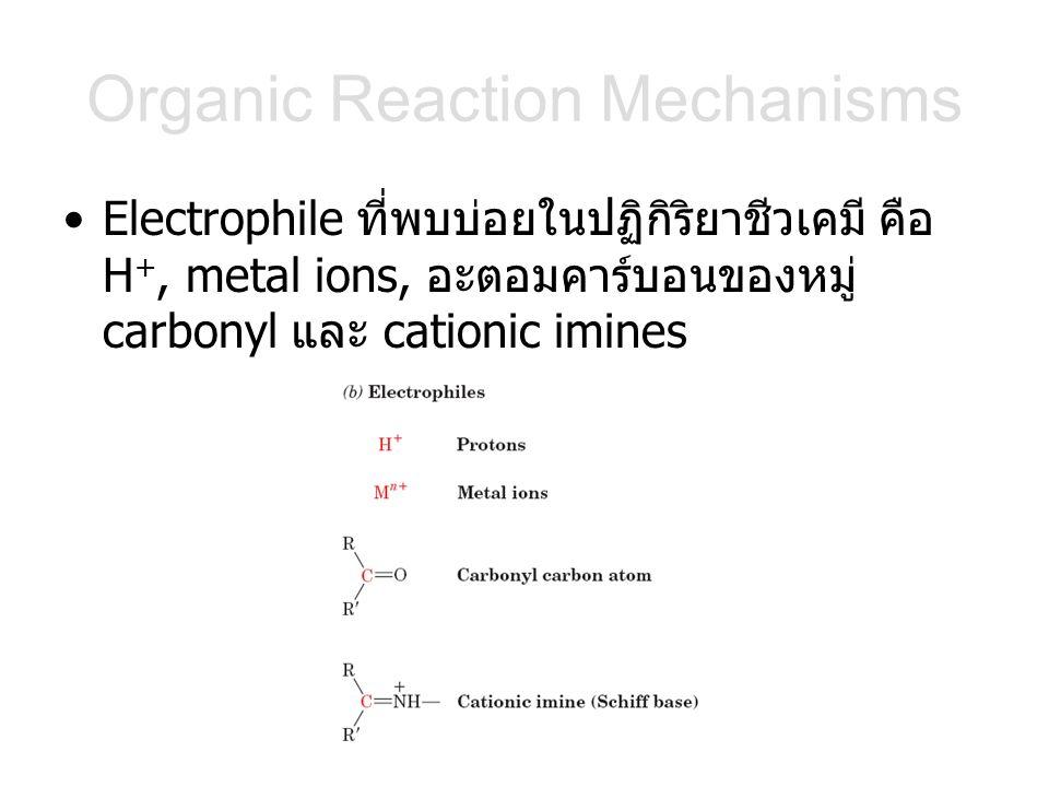 Organic Reaction Mechanisms Electrophile ที่พบบ่อยในปฏิกิริยาชีวเคมี คือ H +, metal ions, อะตอมคาร์บอนของหมู่ carbonyl และ cationic imines