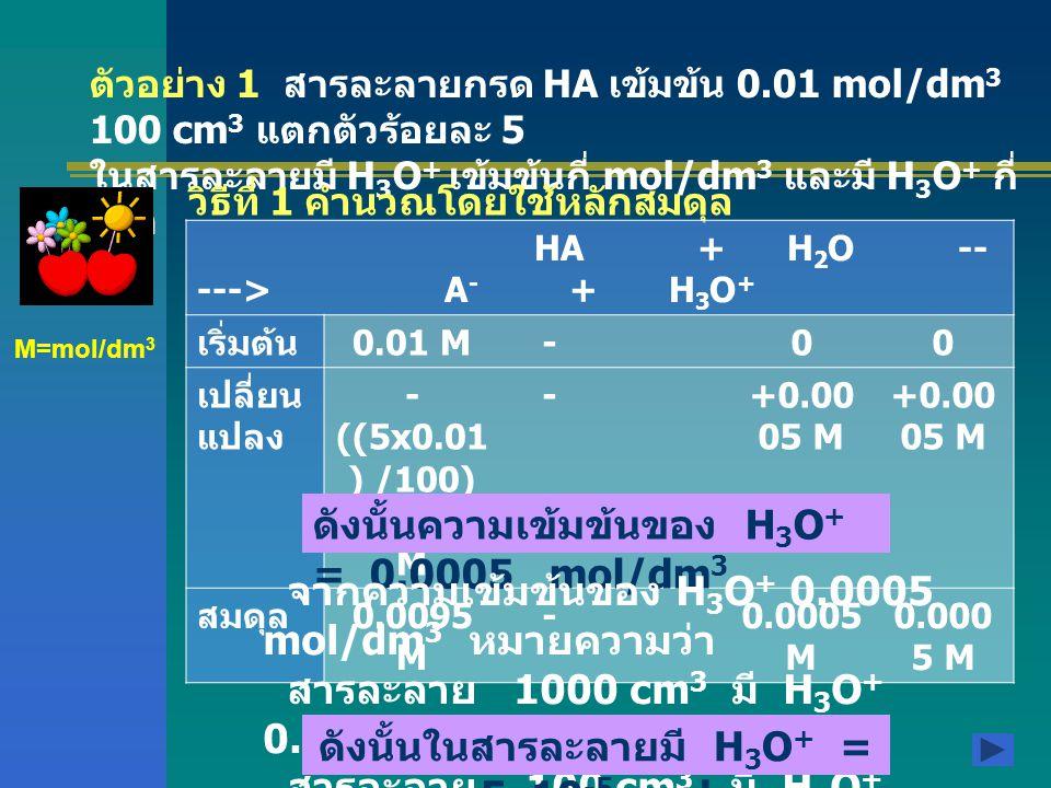 ตัวอย่าง 1 สารละลายกรด HA เข้มข้น 0.01 mol/dm 3 100 cm 3 แตกตัวร้อยละ 5 ในสารละลายมี H 3 O + เข้มข้นกี่ mol/dm 3 และมี H 3 O + กี่ โมล วิธีที่ 1 คำนวณโดยใช้หลักสมดุล HA + H 2 O -- ---> A - + H 3 O + เริ่มต้น 0.01 M-00 เปลี่ยน แปลง - ((5x0.01 ) /100) =0.0005 M -+0.00 05 M สมดุล 0.0095 M -0.0005 M M=mol/dm 3 ดังนั้นความเข้มข้นของ H 3 O + = 0.0005 mol/dm 3 จากความเข้มข้นของ H 3 O + 0.0005 mol/dm 3 หมายความว่า สารละลาย 1000 cm 3 มี H 3 O + 0.0005 mol สารละลาย 100 cm 3 มี H 3 O + 0.00005 หรือ 5x10 -5 mol ดังนั้นในสารละลายมี H 3 O + = 5x10 -5 mol