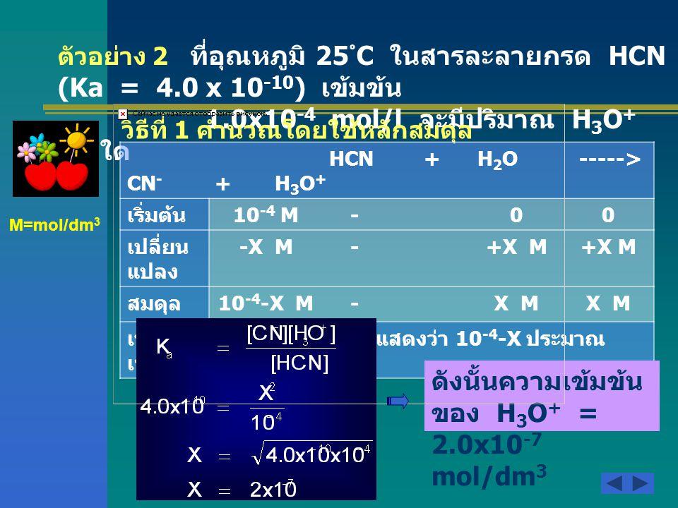วิธีที่ 2 คำนวณโดยใช้สูตร ดังนั้นความเข้มข้นของ H 3 O + = 2x10 -7 mol/dm 3