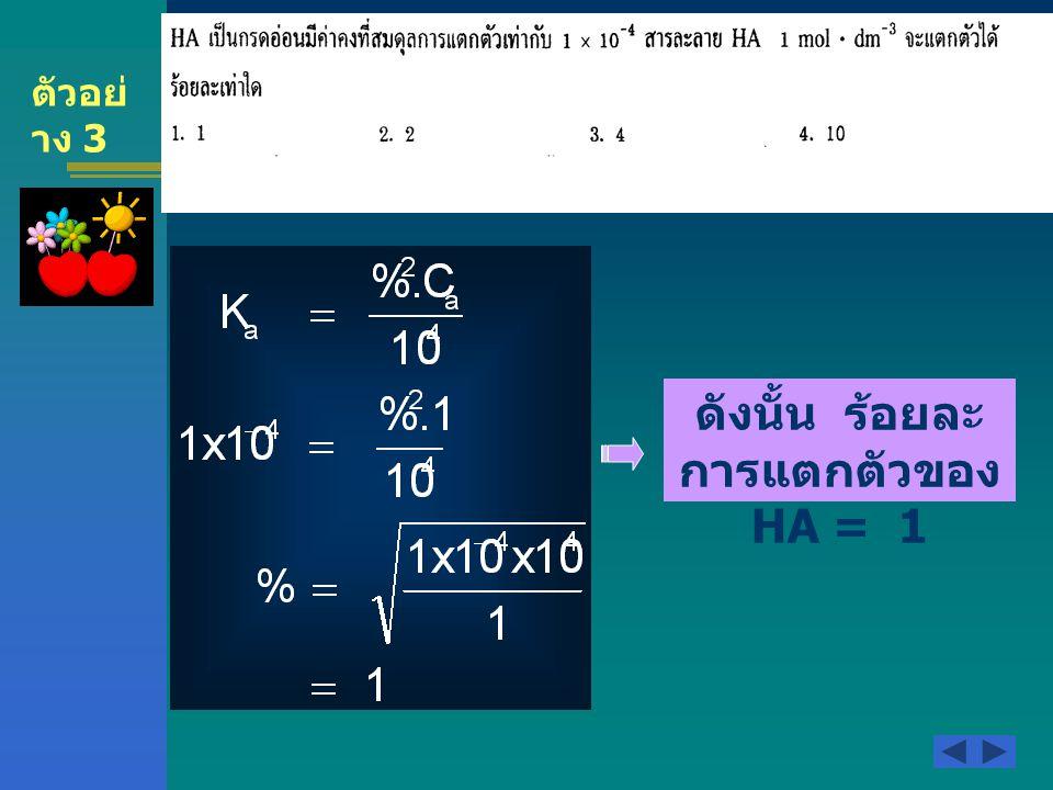 ตัวอย่ าง 3 ดังนั้น ร้อยละ การแตกตัวของ HA = 1