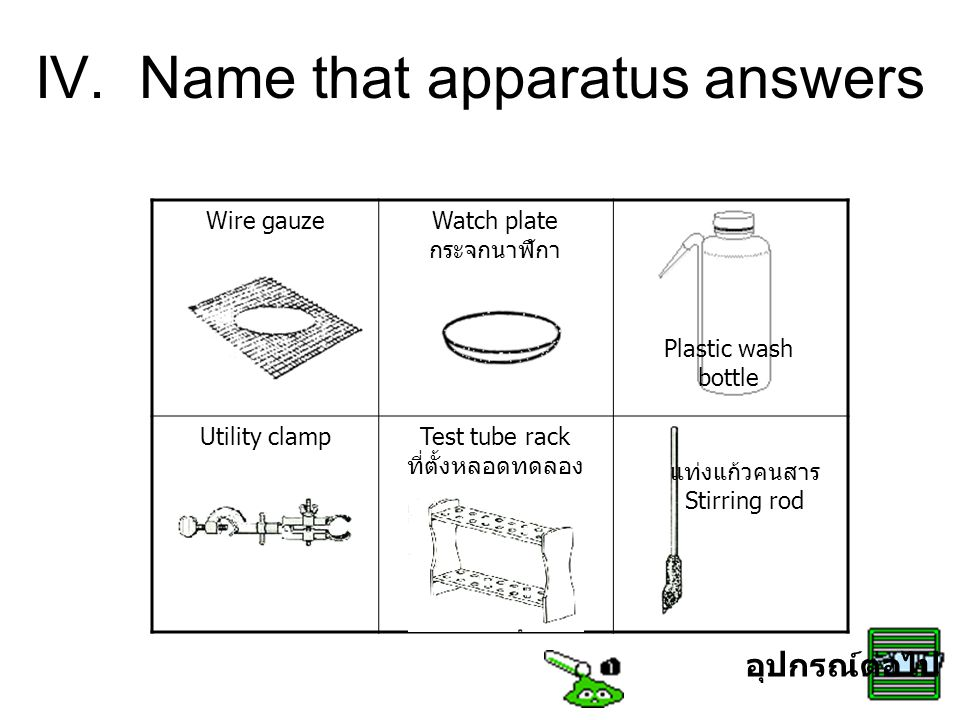 IV. Name that apparatus answers Wire gauzeWatch plate กระจกนาฬิกา Utility clampTest tube rack ที่ตั้งหลอดทดลอง แท่งแก้วคนสาร Stirring rod Plastic wash