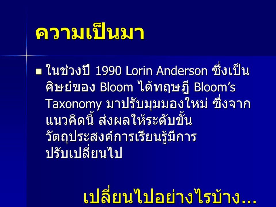 ความเป็นมา ในช่วงปี 1990 Lorin Anderson ซึ่งเป็น ศิษย์ของ Bloom ได้ทฤษฎี Bloom's Taxonomy มาปรับมุมมองใหม่ ซึ่งจาก แนวคิดนี้ ส่งผลให้ระดับขั้น วัตถุประสงค์การเรียนรู้มีการ ปรับเปลี่ยนไป ในช่วงปี 1990 Lorin Anderson ซึ่งเป็น ศิษย์ของ Bloom ได้ทฤษฎี Bloom's Taxonomy มาปรับมุมมองใหม่ ซึ่งจาก แนวคิดนี้ ส่งผลให้ระดับขั้น วัตถุประสงค์การเรียนรู้มีการ ปรับเปลี่ยนไป เปลี่ยนไปอย่างไรบ้าง...