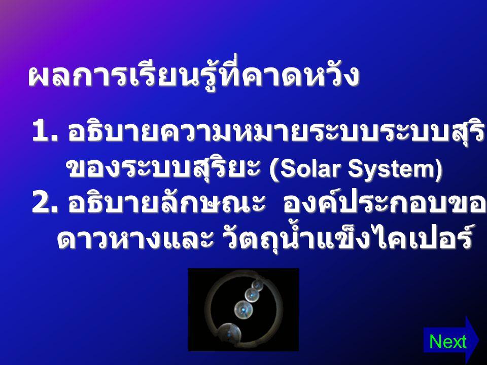 1. อธิบายความหมายระบบระบบสุริยะและองค์ประกอบ ของระบบสุริยะ (Solar System) ของระบบสุริยะ (Solar System) 2. อธิบายลักษณะ องค์ประกอบของดาวเคราะห์ อุกกาบา