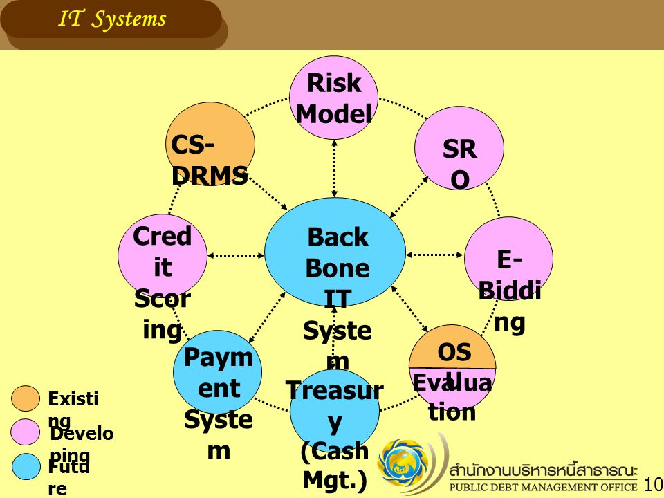 Back Bone IT Syste m CS- DRMS Cred it Scor ing Risk Model SR O Paym ent Syste m E- Biddi ng Treasur y (Cash Mgt.) OS U Evalua tion Develo ping Existi ng Futu re IT Systems 10