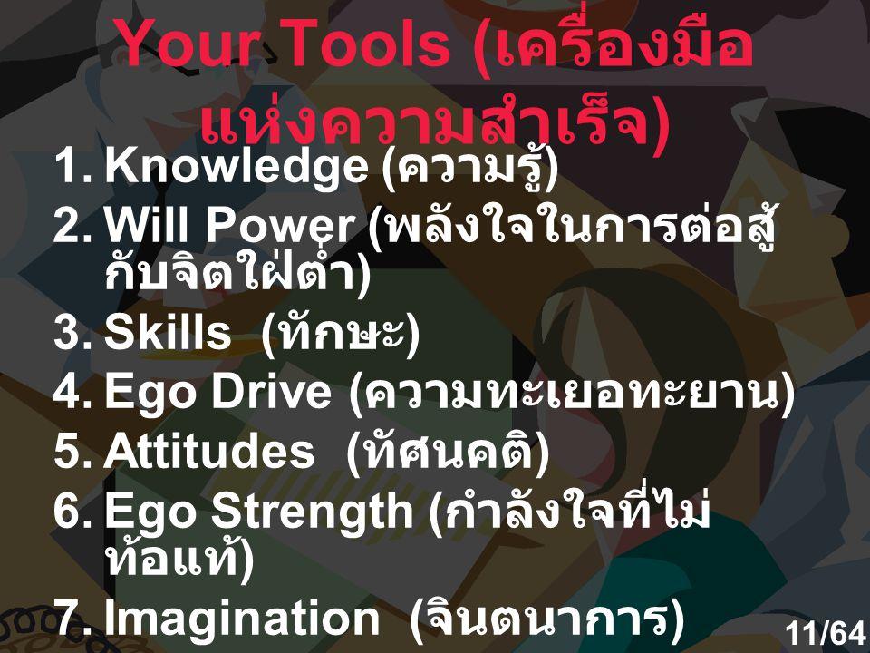 Your Tools ( เครื่องมือ แห่งความสำเร็จ ) 1.Knowledge ( ความรู้ ) 2.Will Power ( พลังใจในการต่อสู้ กับจิตใฝ่ต่ำ ) 3.Skills ( ทักษะ ) 4.Ego Drive ( ความ