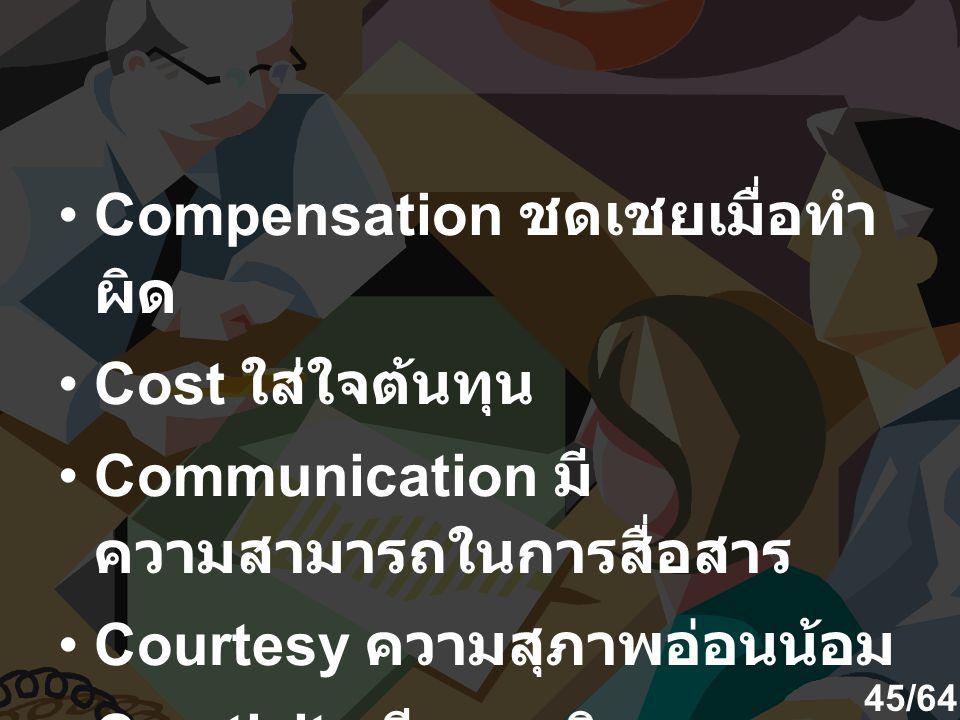Compensation ชดเชยเมื่อทำ ผิด Cost ใส่ใจต้นทุน Communication มี ความสามารถในการสื่อสาร Courtesy ความสุภาพอ่อนน้อม Creativity มีความคิด สร้างสรรค์อย่าง