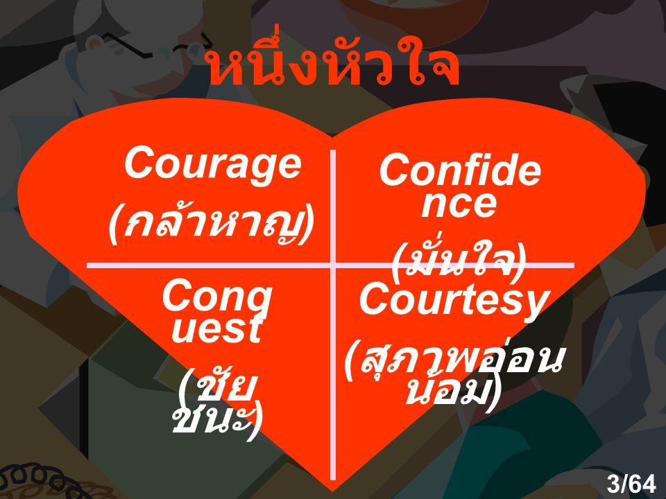 หนึ่งหัวใจ Courage ( กล้าหาญ ) Confide nce ( มั่นใจ ) Conq uest ( ชัย ชนะ ) Courtesy ( สุภาพอ่อน น้อม ) 3/64
