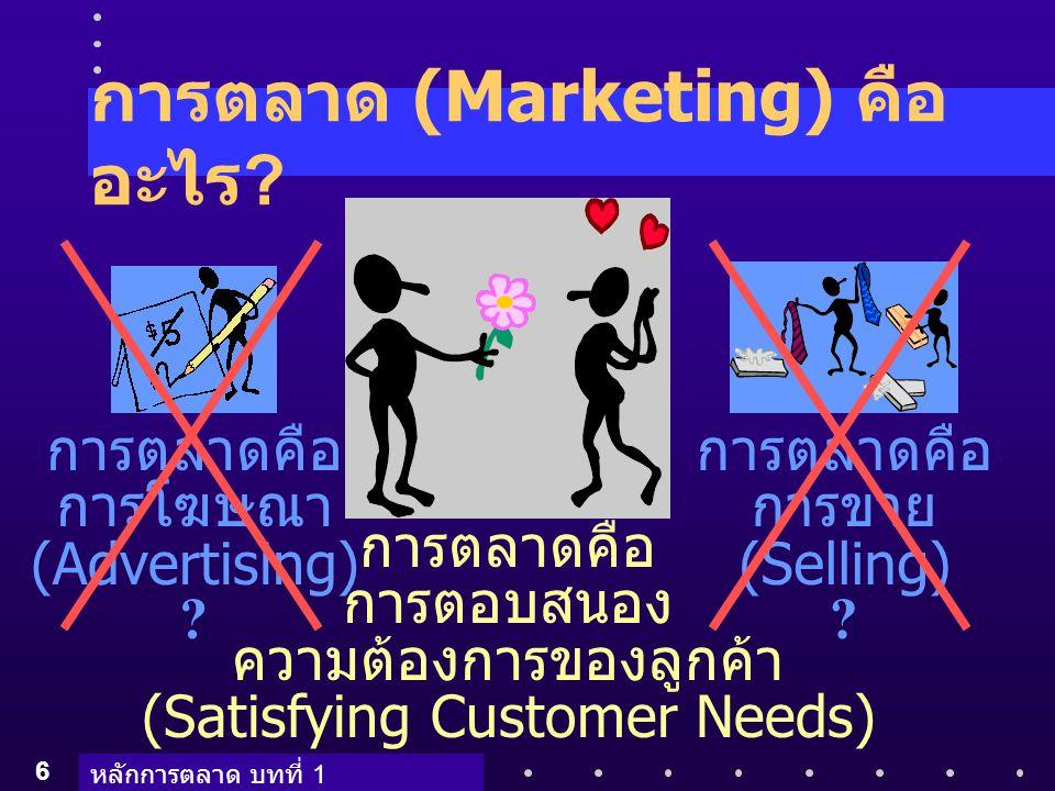 หลักการตลาด บทที่ 1 6 การตลาด (Marketing) คือ อะไร ? การตลาดคือ การโฆษณา (Advertising) ? การตลาดคือ การขาย (Selling) ? การตลาดคือ การตอบสนอง ความต้องก