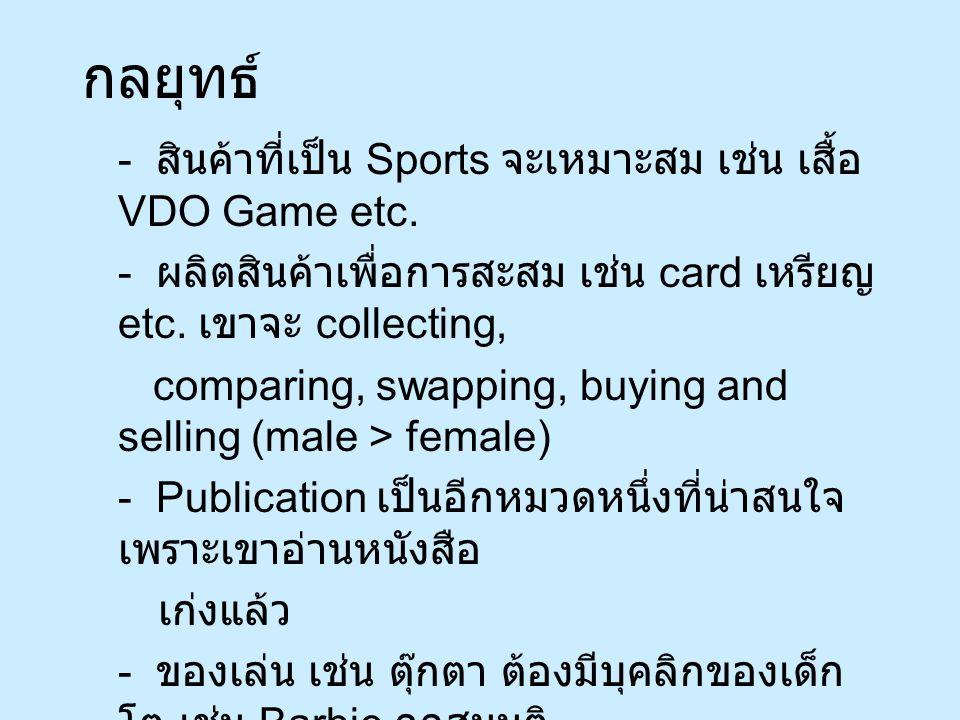 กลยุทธ์ - สินค้าที่เป็น Sports จะเหมาะสม เช่น เสื้อ VDO Game etc.