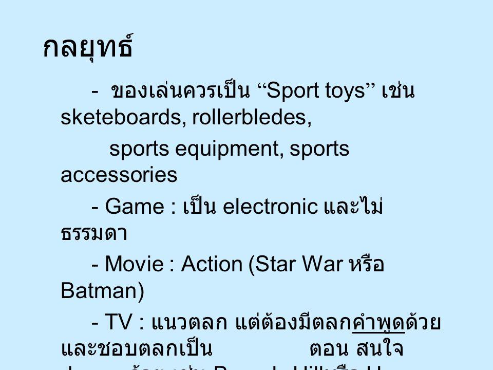 กลยุทธ์ - ของเล่นควรเป็น Sport toys เช่น sketeboards, rollerbledes, sports equipment, sports accessories - Game : เป็น electronic และไม่ ธรรมดา - Movie : Action (Star War หรือ Batman) - TV : แนวตลก แต่ต้องมีตลกคำพูดด้วย และชอบตลกเป็น ตอน สนใจ drama ด้วย เช่น Beverly Hill หรือ Home VDO - Music : Pop music - Software : electronic computer game
