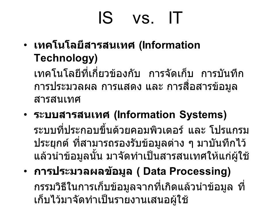 IS vs. IT เทคโนโลยีสารสนเทศ (Information Technology) เทคโนโลยีที่เกี่ยวข้องกับ การจัดเก็บ การบันทึก การประมวลผล การแสดง และ การสื่อสารข้อมูล สารสนเทศ
