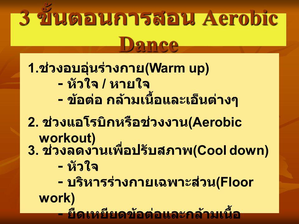 3 ขั้นตอนการสอน Aerobic Dance 1. ช่วงอบอุ่นร่างกาย (Warm up) - หัวใจ / หายใจ - ข้อต่อ กล้ามเนื้อและเอ็นต่างๆ 2. ช่วงแอโรบิกหรือช่วงงาน (Aerobic workou