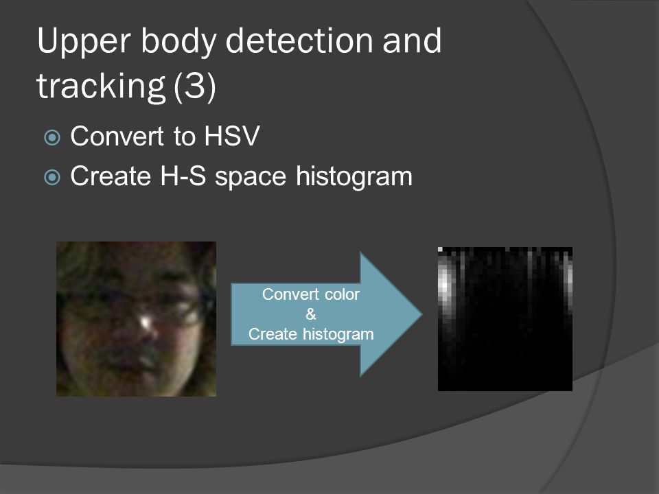 Upper body detection and tracking (3)  Convert to HSV  Create H-S space histogram Convert color & Create histogram