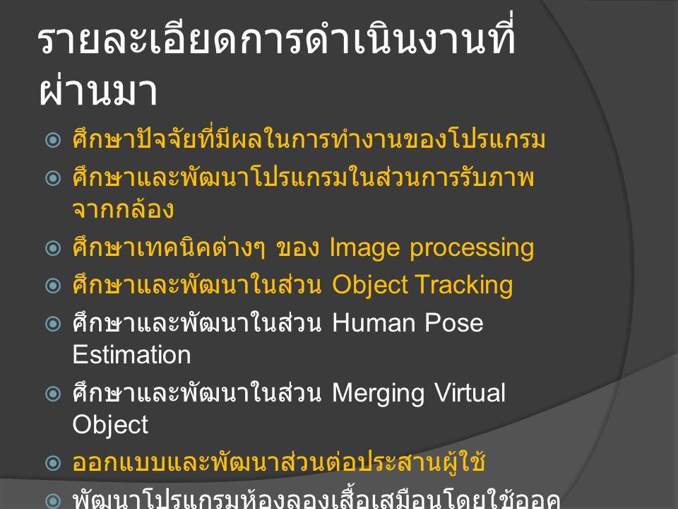 รายละเอียดการดำเนินงานที่ ผ่านมา  ศึกษาปัจจัยที่มีผลในการทำงานของโปรแกรม  ศึกษาและพัฒนาโปรแกรมในส่วนการรับภาพ จากกล้อง  ศึกษาเทคนิคต่างๆ ของ Image