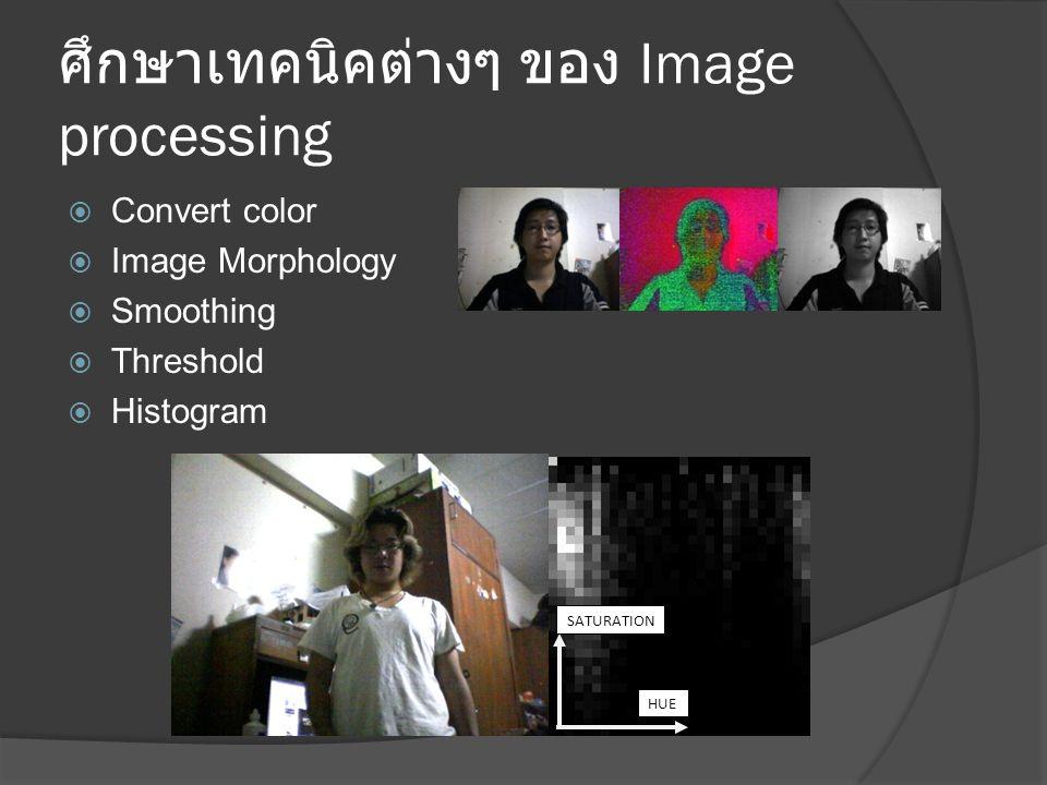 ศึกษาเทคนิคต่างๆ ของ Image processing  Convert color  Image Morphology  Smoothing  Threshold  Histogram HUE SATURATION