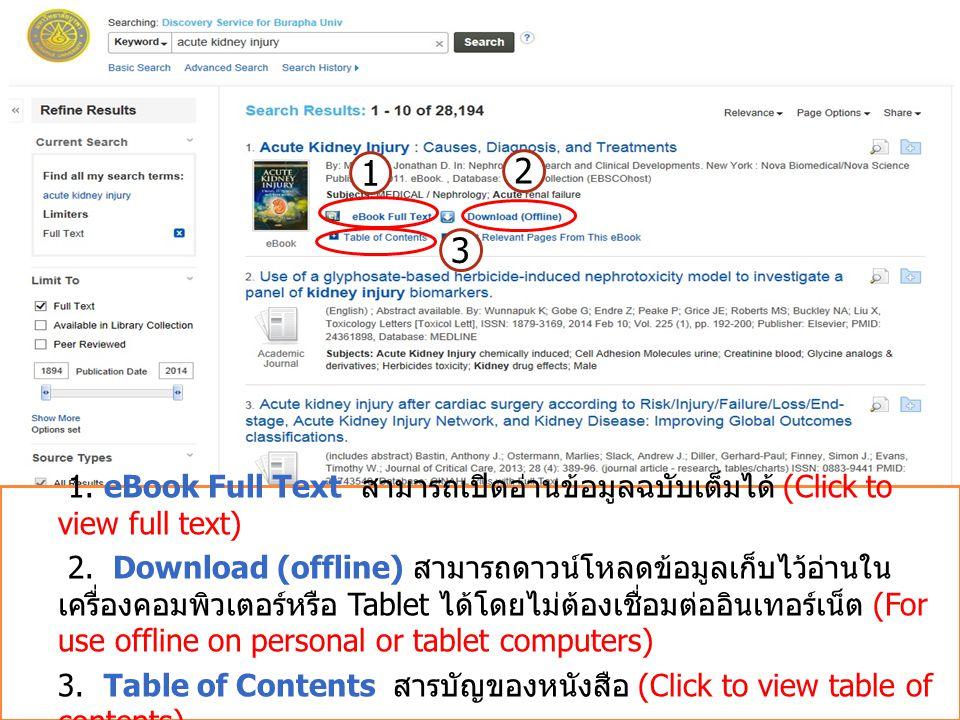 1 2 3 1. eBook Full Text สามารถเปิดอ่านข้อมูลฉบับเต็มได้ (Click to view full text) 2. Download (offline) สามารถดาวน์โหลดข้อมูลเก็บไว้อ่านใน เครื่องคอม