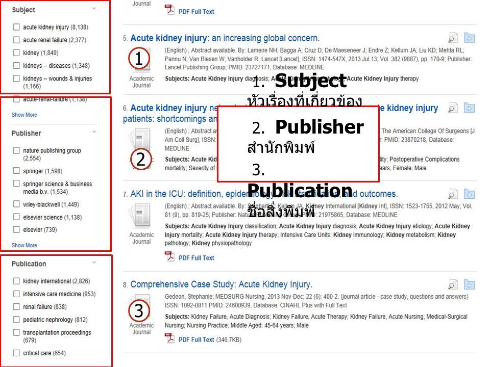 1. Subject หัวเรื่องที่เกี่ยวข้อง 2. Publisher สำนักพิมพ์ 3. Publication ชื่อสิ่งพิมพ์ 1 2 3