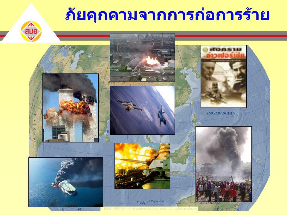 สภาพชีวิตที่เต็มไปด้วย ภัยคุกคาม USA Sep11, 2000 Madrid Bombings March 11,2004 Indonesia Sep9,2004