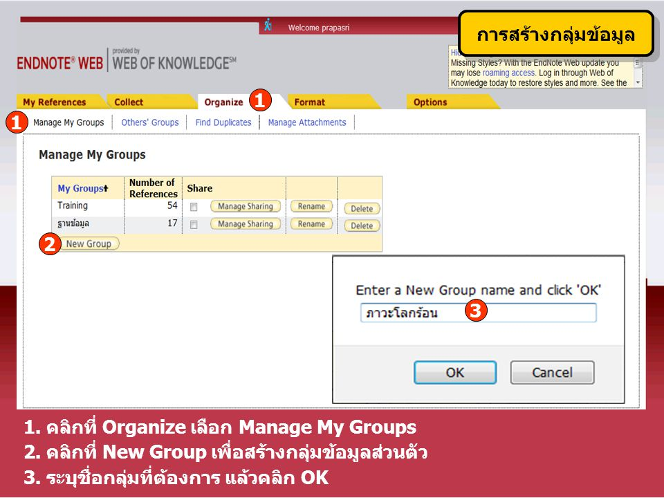 1 การสร้างกลุ่มข้อมูล 1.คลิกที่ Organize เลือก Manage My Groups 2.