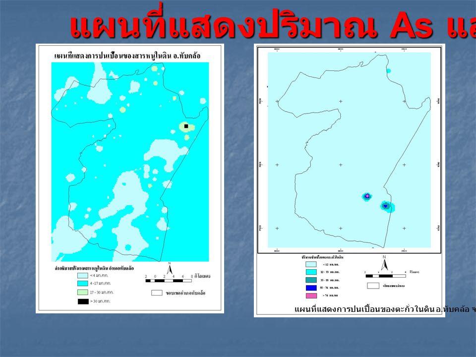 ผ แผนที่แสดงการปนเปื้อนของตะกั่วในดิน อ. ทับคล้อ จ. พิจิตร แผนที่แสดงปริมาณ As และ Pb