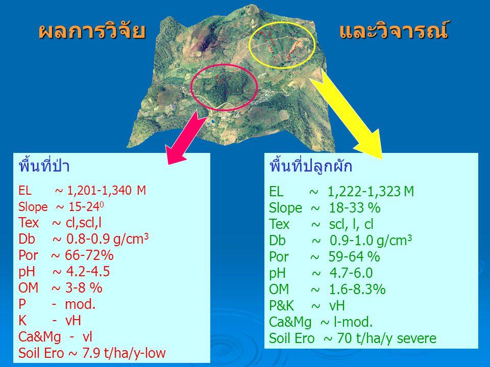 ผลการวิจัย พื้นที่ป่า EL ~ 1,201-1,340 M Slope ~ 15-24 0 Tex ~ cl,scl,l Db ~ 0.8-0.9 g/cm 3 Por ~ 66-72% pH ~ 4.2-4.5 OM ~ 3-8 % P - mod. K - vH Ca&Mg