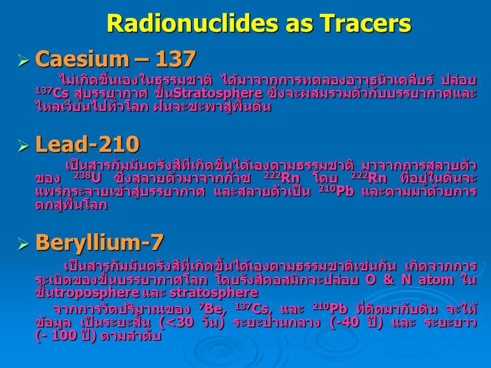 Radionuclides as Tracers  Caesium – 137 ไม่เกิดขึ้นเองในธรรมชาติ ได้มาจากการทดลองอาวุธนิวเคลียร์ ปล่อย 137 Cs สู่บรรยากาศ ชั้นStratosphere ซึ่งจะผสมร
