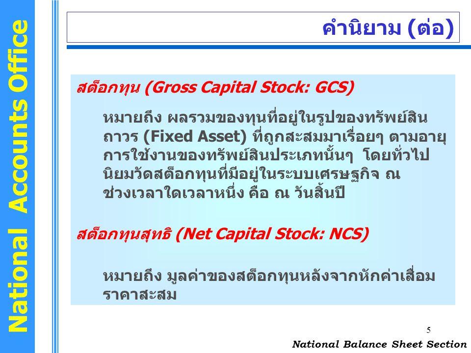 5 National Accounts Office คำนิยาม (ต่อ) สต็อกทุน (Gross Capital Stock: GCS) หมายถึง ผลรวมของทุนที่อยู่ในรูปของทรัพย์สิน ถาวร (Fixed Asset) ที่ถูกสะสม