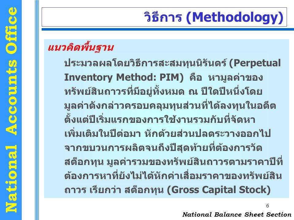 6 National Accounts Office วิธีการ (Methodology) แนวคิดพื้นฐาน ประมวลผลโดยวิธีการสะสมทุนนิรันดร์ (Perpetual Inventory Method: PIM) คือ หามูลค่าของ ทรั