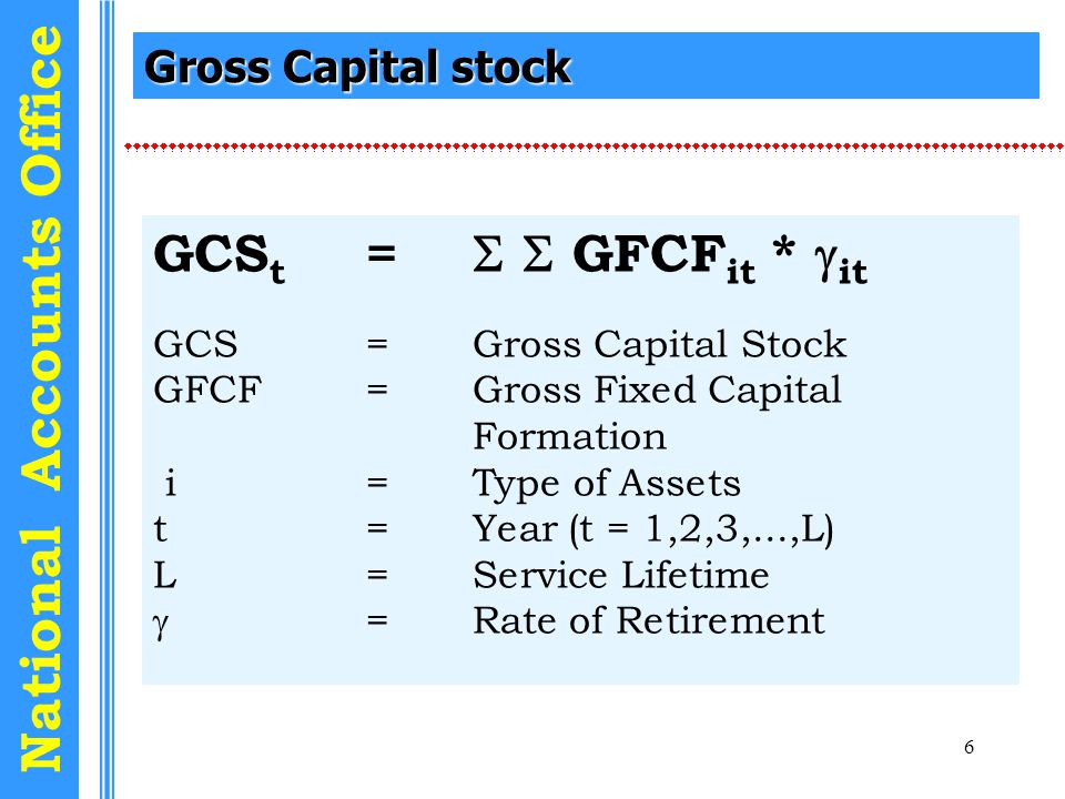 7 National Accounts Office Net Capital stock NCS t = NCS t-1 + GFCF t - COFC t NCS =Net Capital Stock GFCF=Gross Fixed Capital Formation COFC=Depreciation