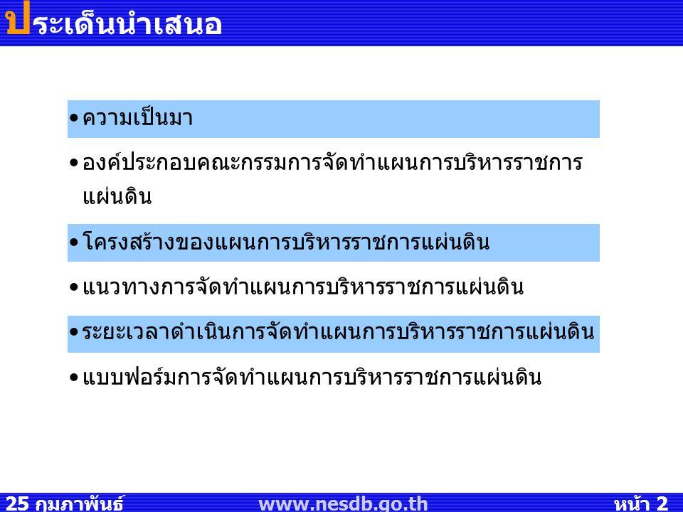 25 กุมภาพันธ์ 2551 www.nesdb.go.th หน้า 2 ป ระเด็นนำเสนอ ความเป็นมา องค์ประกอบคณะกรรมการจัดทำแผนการบริหารราชการ แผ่นดิน โครงสร้างของแผนการบริหารราชการ