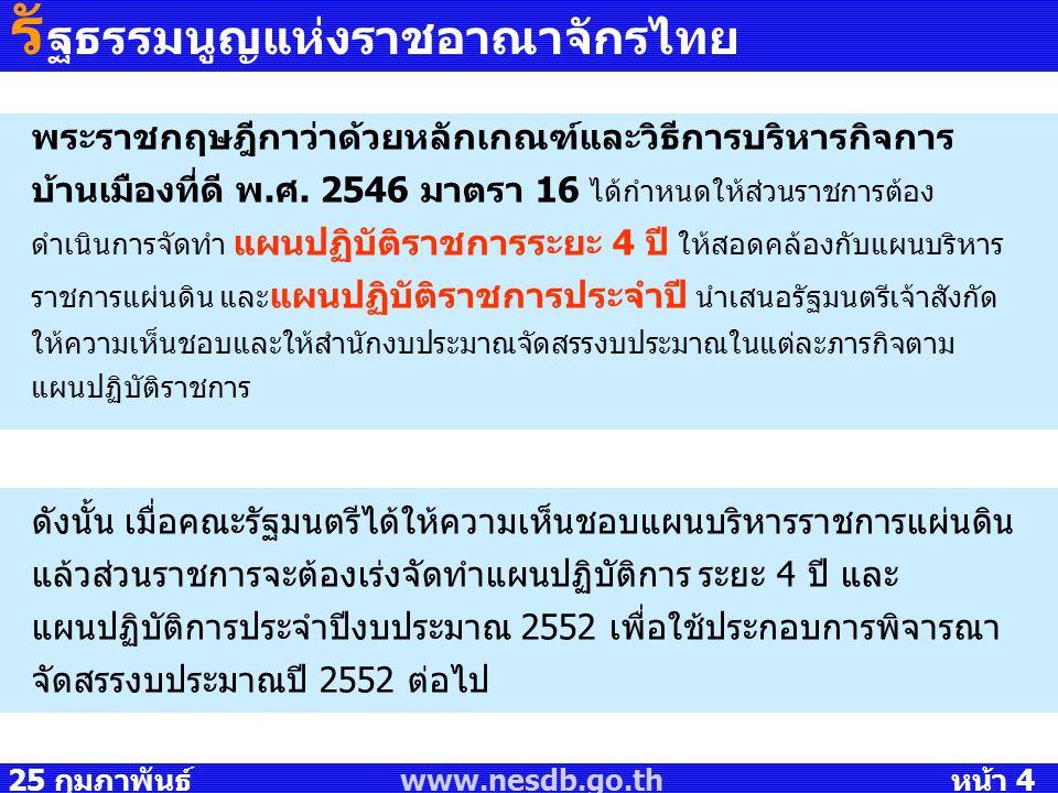 25 กุมภาพันธ์ 2551 www.nesdb.go.th หน้า 4 พระราชกฤษฎีกาว่าด้วยหลักเกณฑ์และวิธีการบริหารกิจการ บ้านเมืองที่ดี พ.ศ. 2546 มาตรา 16 ได้กำหนดให้ส่วนราชการต