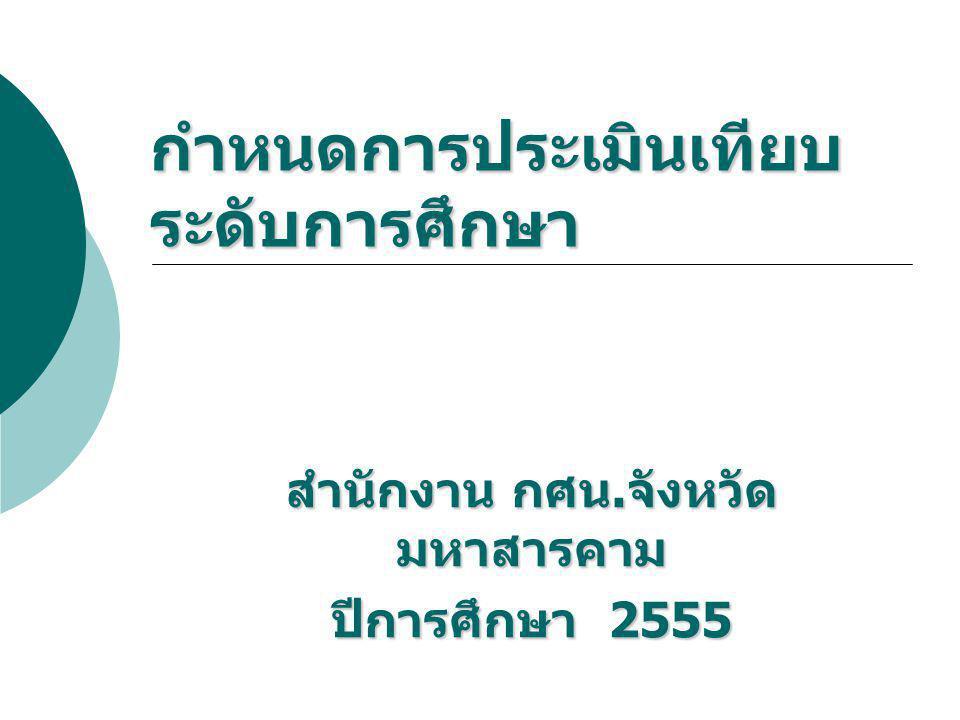 กำหนดการประเมินเทียบ ระดับการศึกษา สำนักงาน กศน. จังหวัด มหาสารคาม ปีการศึกษา 2555