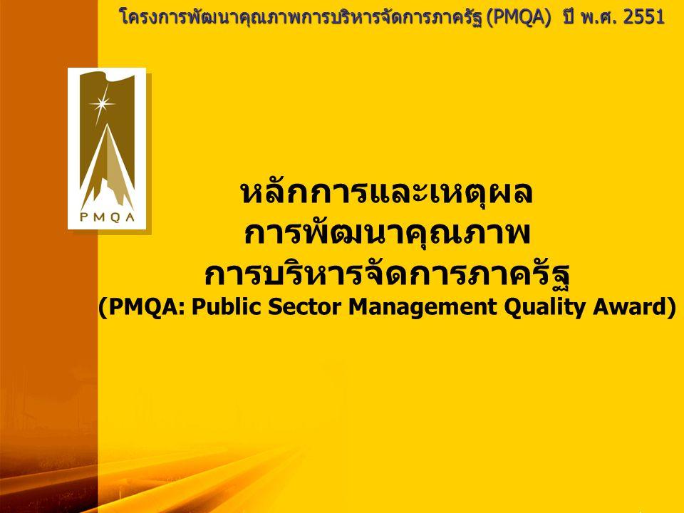 โครงการพัฒนาคุณภาพการบริหารจัดการภาครัฐ (PMQA) ปี พ.ศ. 2551 หลักการและเหตุผล การพัฒนาคุณภาพ การบริหารจัดการภาครัฐ (PMQA: Public Sector Management Qual
