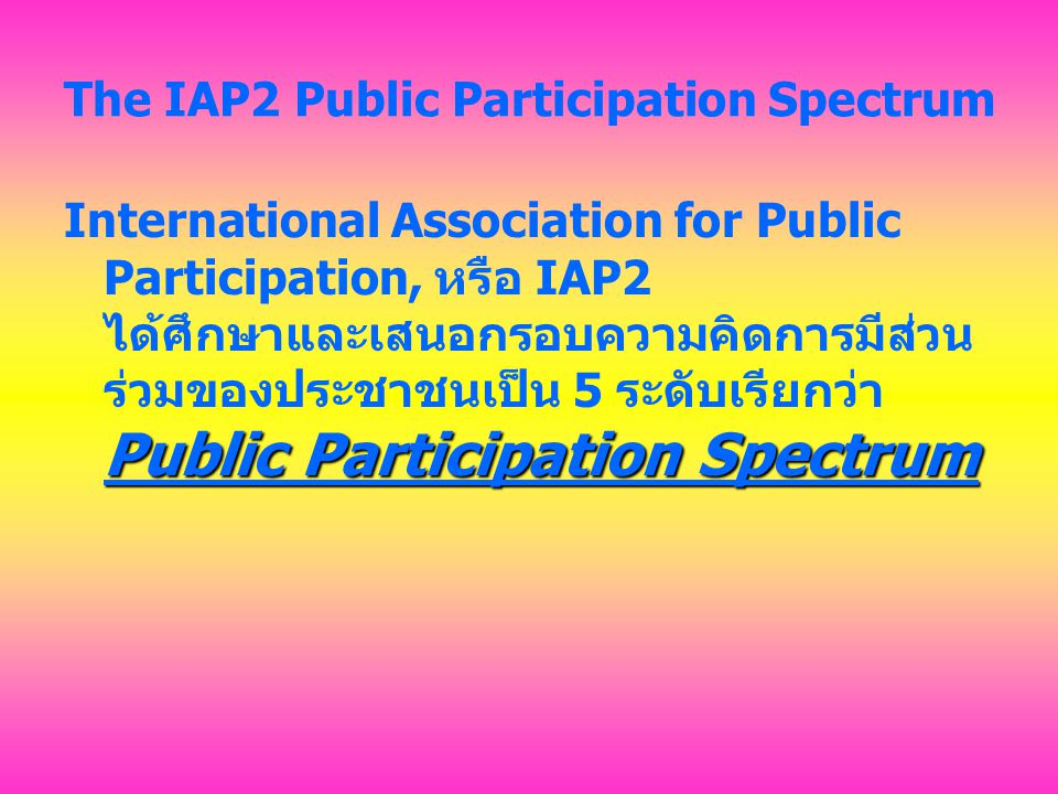 Public Participation Spectrum 1.แจ้งข่าวสารให้ทราบ (Inform) 2.ปรึกษาหารือ (Consult) 3.เกี่ยวข้อง (Involve) 4.ร่วมมือ (Collaborate) 5.มอบอำนาจสิทธิเด็ดขาด (Empower)