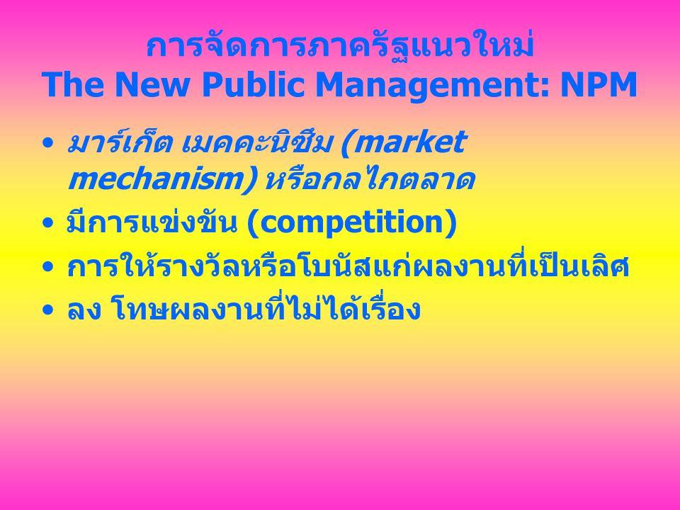 การจัดการภาครัฐแนวใหม่ The New Public Management: NPM ผู้นำภาครัฐ จำต้อง พยายาม เพิ่มผลิตภาพ (productivity) และ ต้องค้นหากลไกทางเลือกอื่น ในการส่ง มอบการบริการ (alternative service-delivery mechanisms)