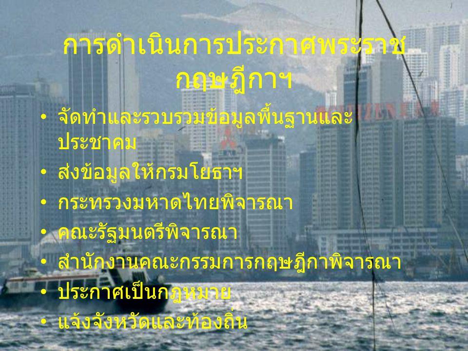 การดำเนินการประกาศพระราช กฤษฎีกาฯ จัดทำและรวบรวมข้อมูลพื้นฐานและ ประชาคม ส่งข้อมูลให้กรมโยธาฯ กระทรวงมหาดไทยพิจารณา คณะรัฐมนตรีพิจารณา สำนักงานคณะกรรม